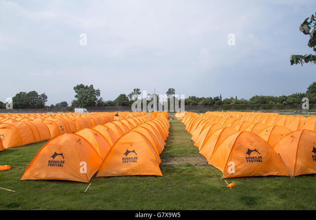 Roskilde Denmark - June 25 2016 Rows of orange tents at the Roskilde & Orange Tents Stock Photos u0026 Orange Tents Stock Images - Alamy