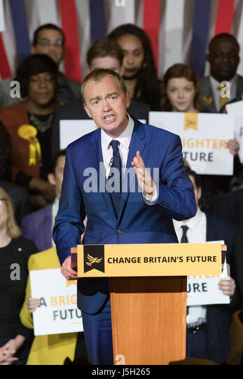 London, UK, 17th May 2017. Tim Farron, the Liberal Democrat leader launches the 2017 Liberal Democrat manifesto - Stock Image