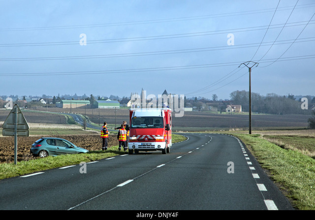 Firefighters Responding To Car Accident