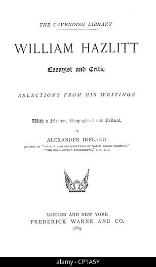 william hazlitt as an essayist pdf