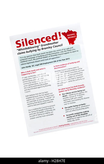 Leaflet protests at way london borough of bromley has treated people