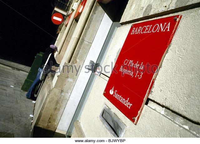 Cash machine abroad stock photos cash machine abroad for Horario oficinas banco santander barcelona