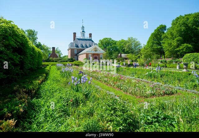 USA Virginia VA Colonial Williamsburg The Governoru0027s Palace And Gardens    Stock Image