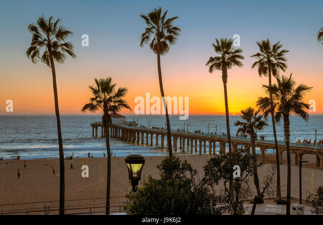 Manhattan Beach at sunset, Los Angeles. California. - Stock Image