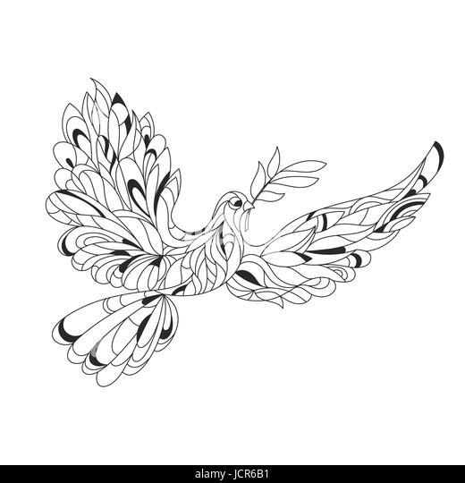Vector Monochrome Hand Drawn Zentagle Illustration Of Peace Dove With Olive Branch Coloring Page
