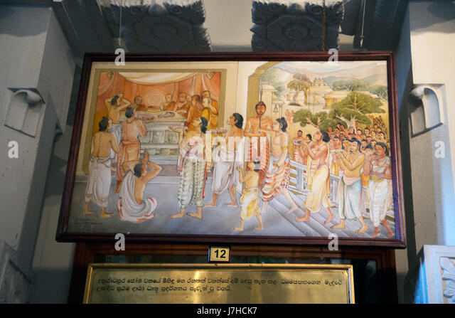 Kandy Sri Lanka Temple of the Sacred Tooth Sri Dalada Museum Painting Of The History Of The Tooth Relic - the first - Stock Image