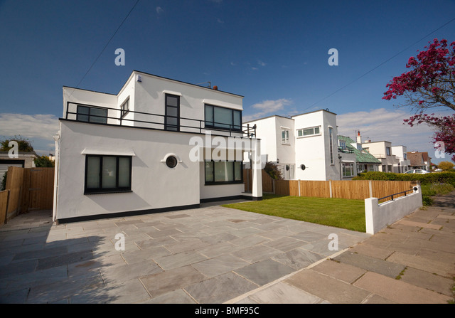 Art Deco style house at Frinton On Sea, Essex, UK - Stock Image