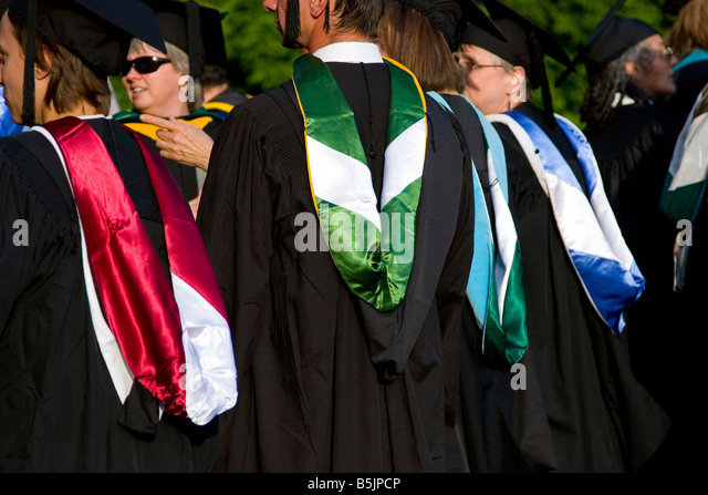Graduation Ceremony Gowns Academic Hoods Stock Photos & Graduation ...