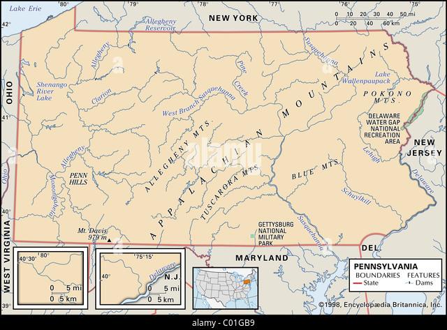 Physical Map Of Pennsylvania Stock Photos Physical Map Of - New jersey physical map