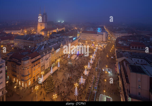 Zagreb city center decorated during the Advent, Croatia - Stock Image