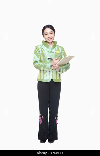 Usher in greeting stock photos usher in greeting stock images alamy restauranthotel hostess in traditional chinese clothing holding clipboard stock image m4hsunfo