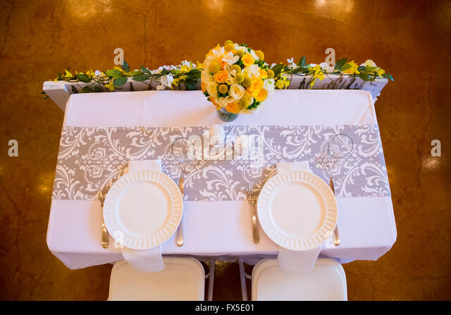 Wedding Reception Table Setting For The Bride And Groom.   Stock Image