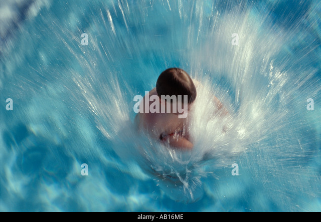 Pool Splash Cannonball cannonball diving stock photos & cannonball diving stock images