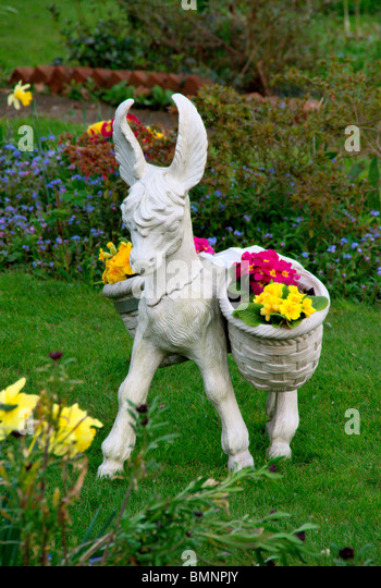 Donkey Ornament In Garden   Stock Image