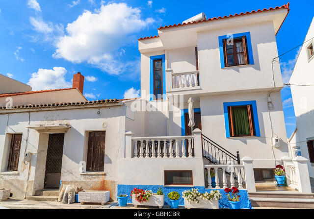 Traditional Greek Houses traditional greek houses kokkari samos stock photos & traditional