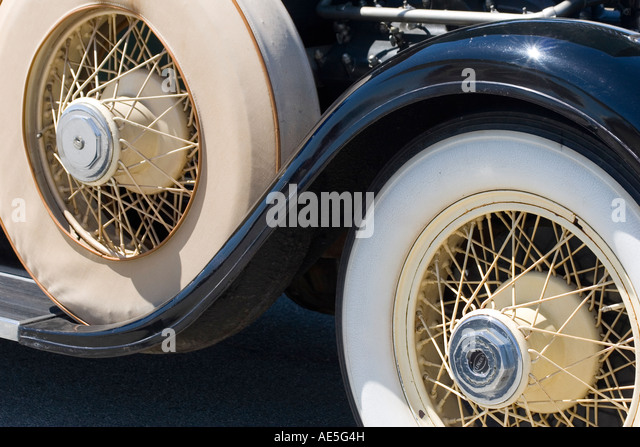 wheel and spare tire of black lincoln classic car stock image
