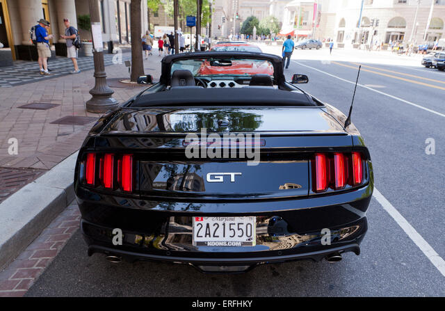 2015 ford mustang gt convertible rear view usa stock image