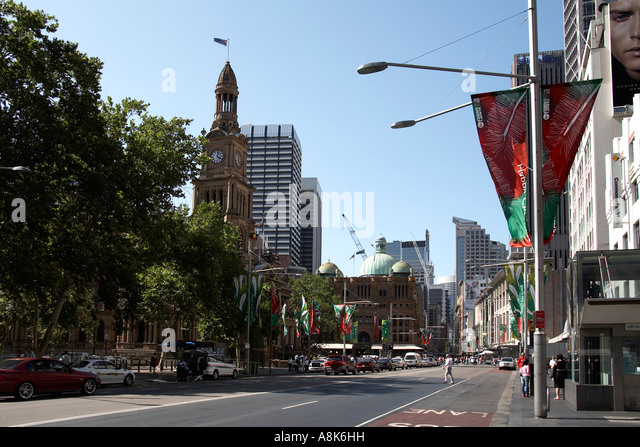 View North Along George St From Bathurst St With Christmas Banners In Sydney City Centre New