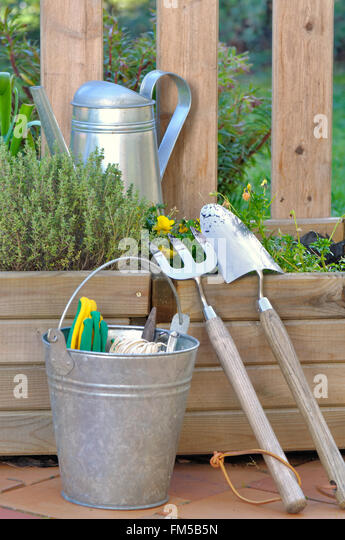 Wooden planters stock photos wooden planters stock for Garden tool maintenance