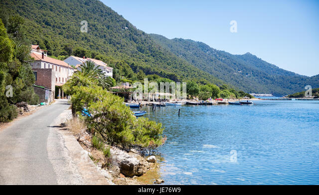 The little fishing village of Soline at the entrance to the Jezero lakes in Mljet National Park Croatia - Stock Image