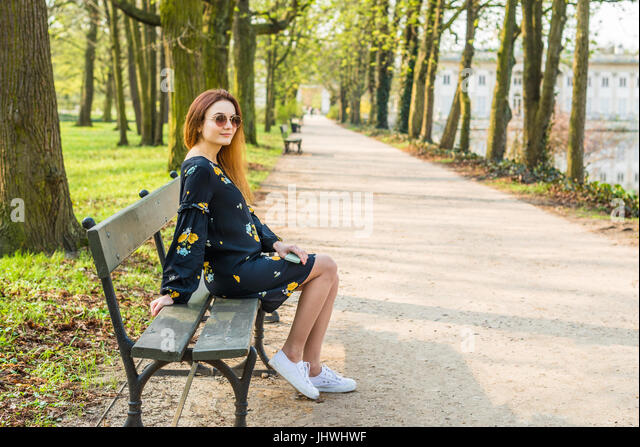 Girl Sitting Alone On Bench Girl Alone Bench Stock...
