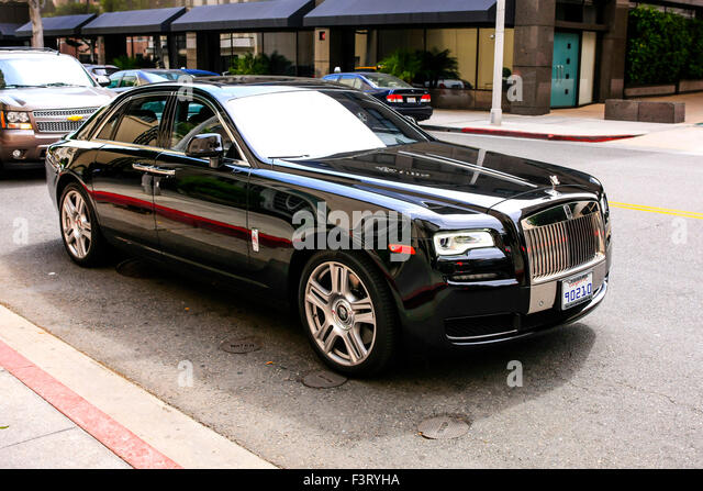 rolls royce ghost black 2015. black 2015 rolls royce ghost vehicle in beverly hills california stock image