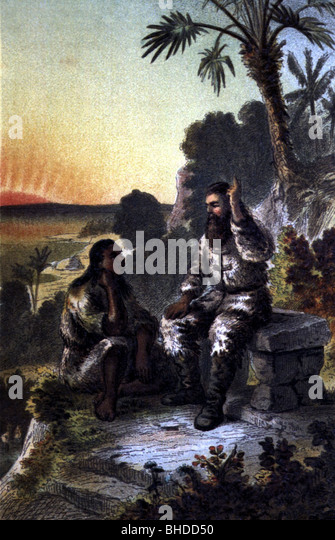 illustrating mans contradictions in daniel defoes robinson crusoe Englishman robinson crusoe, stranded alone on an island for years daniel defoe (novel) man friday (1975.