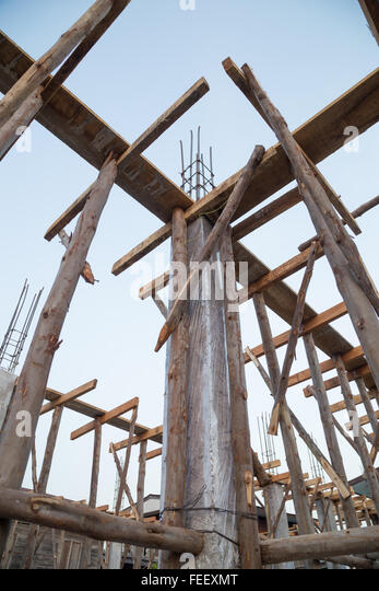 Pillar Concrete Buildings : Metal pillars foundation building stock photos