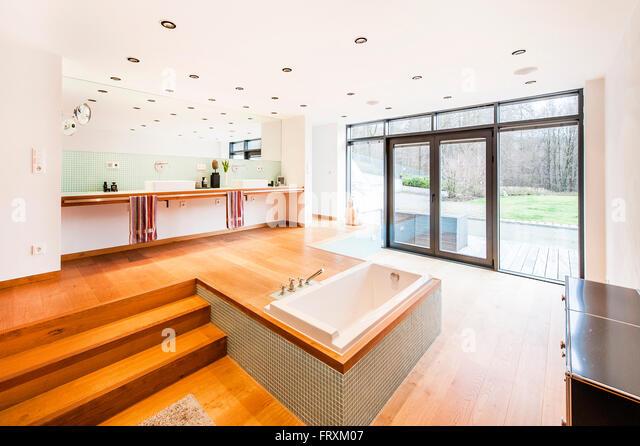 bathroom inside a bauhaus villa sauerland germany stock image - Villa Sauerland