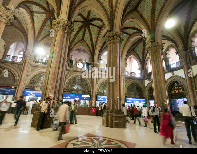 People Inside Chhatrapati Shivaji Terminus Stock Photos ...  People Inside C...