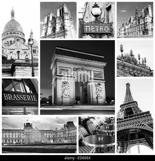 A Collage Of Paris Landmark And Monuments