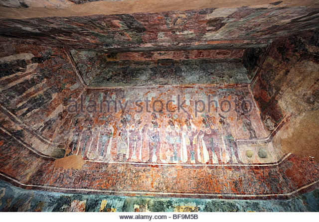 Bonampak murals stock photos bonampak murals stock for Bonampak mural painting