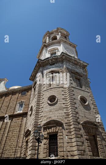 Exteria view of the Bell Tower, Cadiz Cathedral (Catedral de Santa Cruz de Cádiz), Plaza Catedral - Stock Image