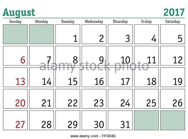 October Calendar 2017 Monday To Sunday