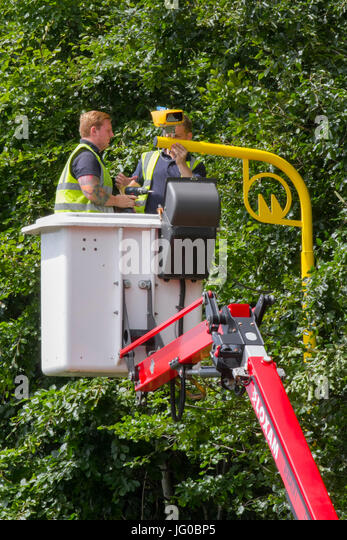 Southport, Merseyside, UK. 3rd July, 2017.   New Vysionics Average Speed Infrared Speed cameras being installed - Stock Image