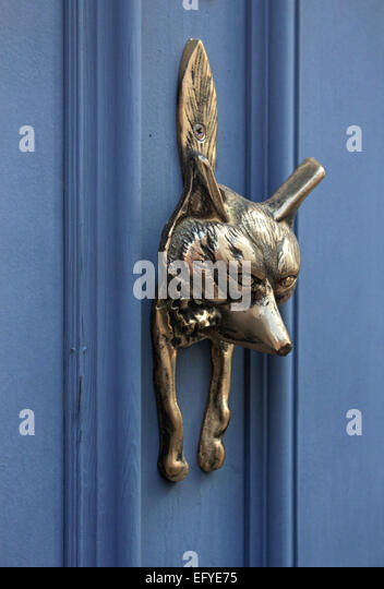 Charming London Door Knocker In The Shape Of A Fox   Stock Image