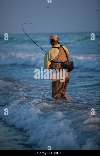 Surf fishing rod stock photos surf fishing rod stock for Surf fly fishing