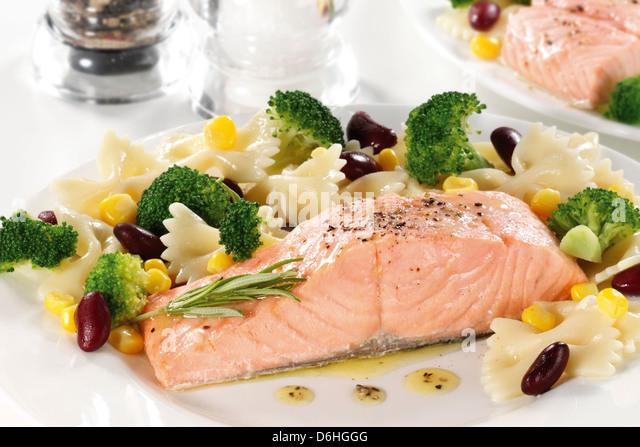 Salmon Steak And Farfalle Pasta Stock Image