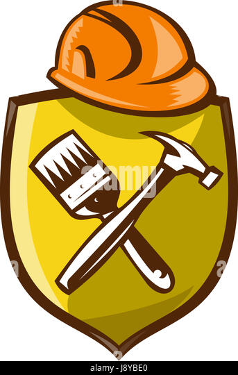 tool, illustration, brush, retro, isolate, hammer, shield, paintbrush, gavel, - Stock Image
