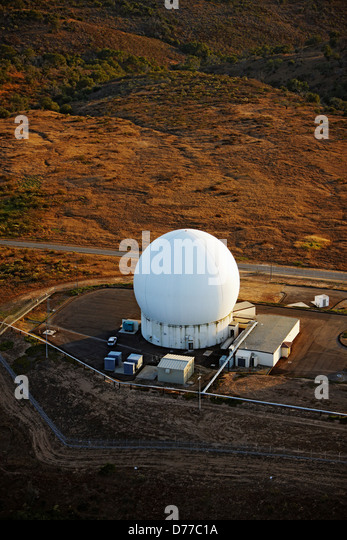 aerial view radar dome at vandenberg air force base stock image