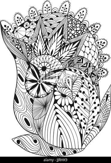 Vector illustration of abstract decorative doodles - Stock Image