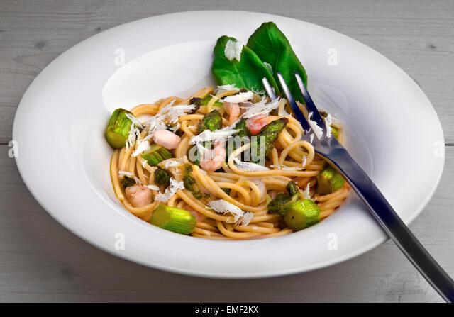 Spring Spaghetti With Asparagus Stock Photos  Spring Spaghetti