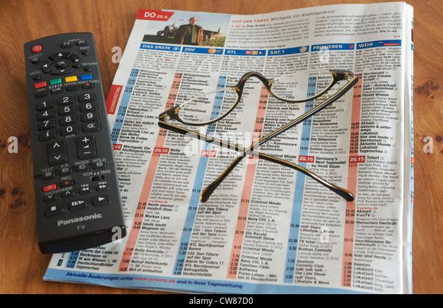 tv listings. german tv listings - stock image tv