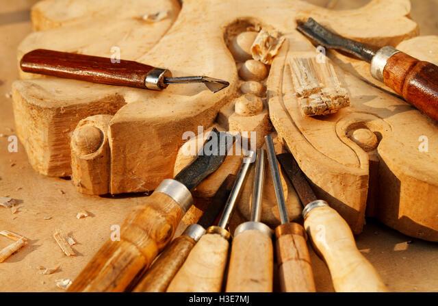 Woodcarving tools stock photos