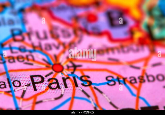 France map atlas map world stock photos france map atlas map paris capital city of france on the world map stock image gumiabroncs Choice Image