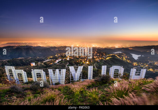 The hollywood sign overlooking los angeles california usa stock image
