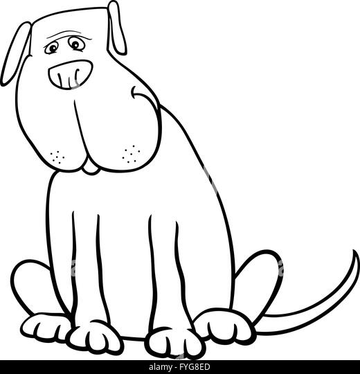 funny big dog cartoon for coloring book stock image