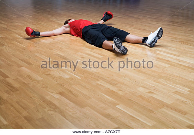 A Boxer Laying On The Floor   Stock Image