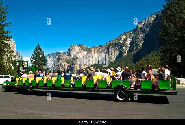 The Valley Floor Tour In Yosemite National Park, CA.   Stock Image