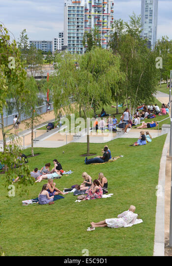 Queen Elizabeth Olympic Park London UK 27th July 2014 Marking The